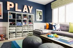 Colorful Playroom/Family Room - gorgeous with amazing organization!