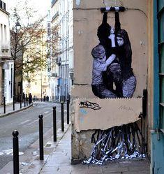 Levalet - La machine infernale, street art - Paris
