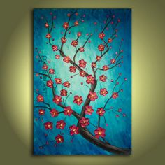 Impasto palette knife textured cherry blossom painting. Showers of Joy- Blue, Red painting.  Free Shipping inside US.