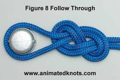 strong 8 on a follow through or an eight on a bight . follow through is to tie into your harness and eight on a bight is for anchor points