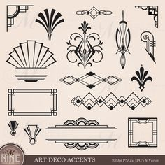 Digital Clipart ART DECO Design Elements Frames / Borders / Flourishes, Instant Download, Vintage Frames Antique Clip Art Black Silhouette