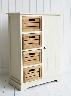 Storage furniture with cupboard and 4 drawers in hallway. A range ...