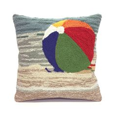 """Toss these beach ball themed 18"""" x 18"""" pillows into any indoor or outdoor space at your seaside home to create a pop of happiness!"""