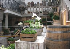 """Use the wine barrels as cocktail tables and top with a round thick glass plate.  Create a little shallow """"floor / shelf"""" near the top of the barrel and arrange flowers, moss, cones, hay on this shelf.  Creates an interesting effect and avoids clutter on the cocktail table."""