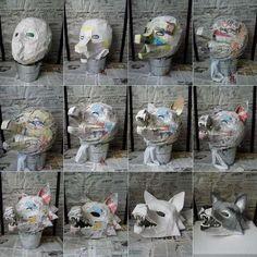 Faschingsmasken aus Pappmache basteln - Wolf Maske