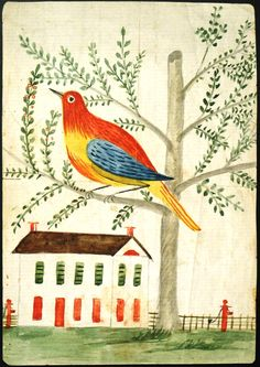 Beautiful Pennsylvania Dutch illustration of a bird in a tree, and a house, dated March 16, 1857 by  Matilda Heck (?)