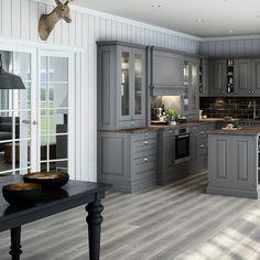 Sigdal kjøkken - Herregaard Palett Kitchen Pantry, Kitchen Living, Kitchen Decor, Kitchen Design, Beach Kitchens, Grey Kitchens, Home Kitchens, Kitchen Renovation Inspiration, Home Renovation