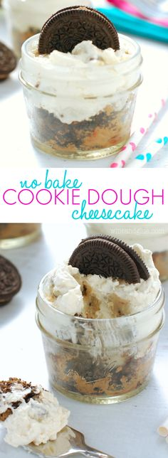 No Bake Cookie Dough Cheesecake | Tons of awesome cookie dough taste crammed into a cute little cheesecake cup!