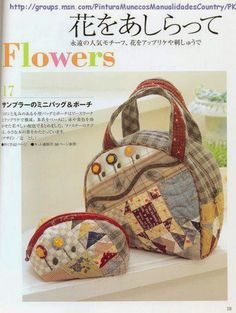 BOLSOS JAPONES - Ana Maria - Веб-альбомы Picasa Japanese Patchwork, Japanese Bag, Japanese Quilts, Patchwork Bags, Quilted Bag, Quilt Book, Asian Quilts, Sewing Magazines, Applique Tutorial