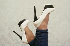 Black and white heels so cute! ... @Meredith Dlatt Milordi i actually really like these for you guys!