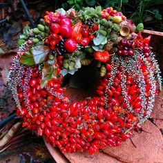 🌟Tante S!fr@ loves this📌🌟Spectacular berry delight! Door Crafts, Wreath Crafts, Diy Wreath, Flower Crafts, Xmas Wreaths, Autumn Wreaths, Halloween Door Decorations, Christmas Decorations, Noel Christmas