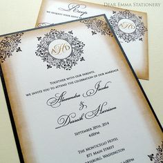 Vintage Fancy Scrolls Wedding Invitations - Classic Antique Wedding Invite and Rsvp Set- SAMPLE ONLY