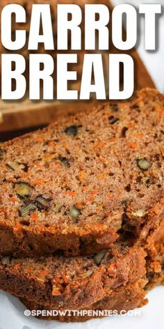 Carrot Bread Recipe, Spend With Pennies, Quick Bread Recipes, Top Recipes, Cooking Recipes, After School Snacks, Carrots, Bread Baking, Game Night Snacks