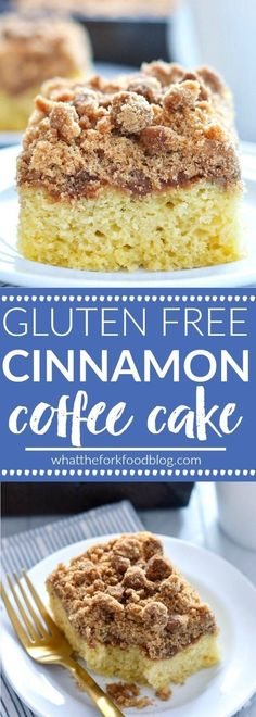 Gluten Free Cinnamon Coffee Cake (and dairy free) is perfect for breakfast or brunch. Recipe from @whattheforkblog | whattheforkfoodblog.com
