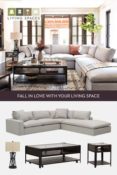 Featured: Haven Sectional Sofa. Come home to the plush comfort of our Haven sectional, or fall in love with other neutral toned, rustic designs in our Villa Sonoma collection. #LivingSpaces #VillaSonoma