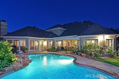 Gorgeous twilight shot of a pool and patio.  So ready for summer!!  #realestatephotography