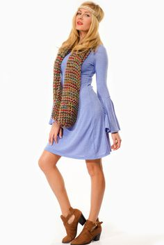 3f58ec17ed9 Light Blue Bell Bottom Sleeve Flared Dress   Cicihot sexy dresses