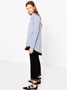 Camisa Feminina Listrada com Pompons - Compre Online