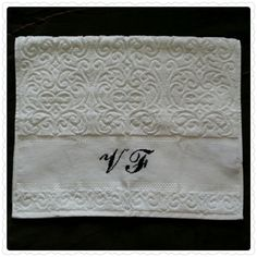 A classy hand towel! - White Karsten hand towel - All designs are personalized as per your request - jymcreations@gmail.com. #Handmade #Crossstitch #Handtowel #Monogram