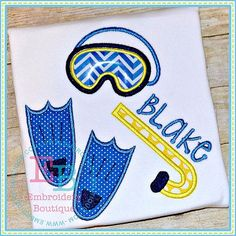 Snorkeling Applique Shirt or Onesie  Personalized by RockintheTutu
