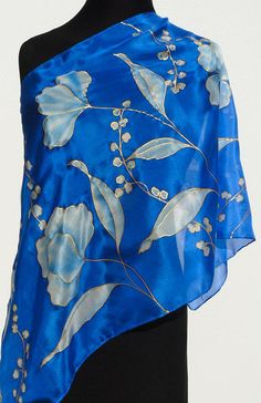 Blue sheer silk scarf floral handpainted blue white flowers