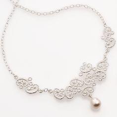 www.ORRO.co.uk - Brigitte Adolph - Silver Pearl Figaro Necklace - ORRO Contemporary Jewellery Glasgow