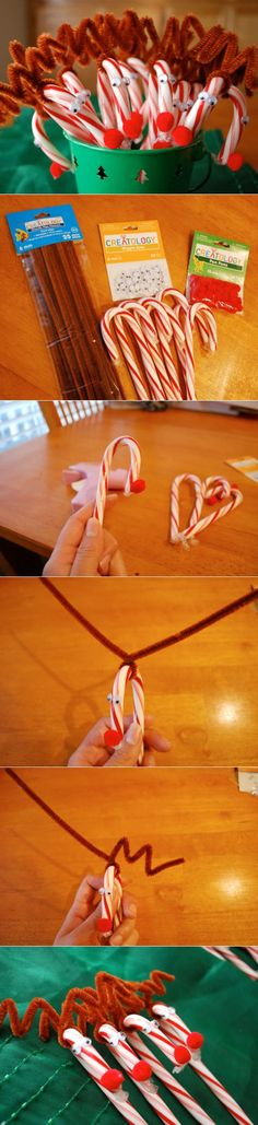 Easy and Adorable DIY Rudolph Candy Canes.