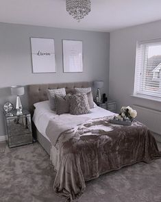 Luxury bedroom ideas Our classic quilted headboard features in this luxe bedroom in dark grey. Grey Bedroom Design, Grey Bedroom Decor, Girl Bedroom Designs, Stylish Bedroom, Room Ideas Bedroom, Home Bedroom, Silver And Grey Bedroom, Dark Grey Bedrooms, Grey Bed Room Ideas