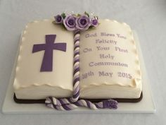Holy Communion Open Book Bible Cake Lilac And Ivory – Cakes Design First Holy Communion Cake, Bautizo Cakes, Open Book Cakes, Comunion Cakes, Cake Paris, Bible Cake, Foto Pastel, Religious Cakes, Themed Cakes