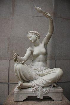 ❤ - Louis-Ernest Barrias - Jeune fille de Mégare assise et filant. Musée d'Orsay.