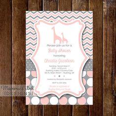 Chevron Dotty Giraffe Baby Shower Invitation  Pink by MommiesInk