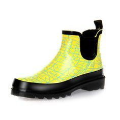 Lostlands Fresh Print Bright Yellow Rainboots - Blue Products- - TopBuy.com.au