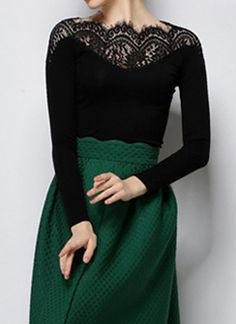 Vintage Black Long Sleeves Lace Splicing T-Shirt For Women