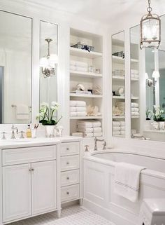 White bathroom, storage!