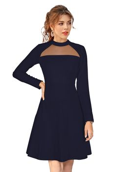 Flaunt your preference for classy fashion by wearing this Gracious Blue Party Wear Western Mini Dress from the Nakshika collection and be a classy woman. It boasts a refined finish and it scores quite high on comfort as it has been tailored with care using superior quality Georgette fabric. Besides, it flaunts a Solid pattern, which is perfectly complemented by the style of the Long sleeves with a round neck design. Lovely Dresses, Blue Dresses, Stylish Dresses, Short Gowns, Black Dress With Sleeves, Women's Knee Length Dresses, Red Midi Dress, Flare Dress, Western Dresses