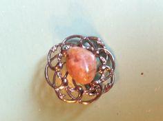 Beautiful 50s gemstone flower stone brooch by yorkshiretreasure