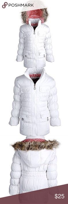 Alternative Down Coat Fleece lined winter coat. The smocked waist and bubbled sleeves, besides for adding detailed style, provide a closer fit thus contributing an extra chunk of warmth. Letter D charms adjoining the zipper pulls embellish its look. Size 3T Jackets & Coats Puffers