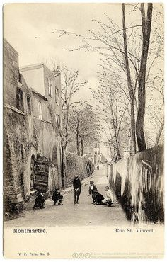 No. 5  Montmartre. Rue St. Vincent.  Vintage photographic postcard, c.1903, uncirculated, undivided back, published by V.P., Paris, France.  © Casas-Rodríguez Collection, 2009. Some rights reserved. creativecommons.org/licenses/by-nc-nd/3.0/   A great many of old french postcards which depict Montmartre choose to emphasize the romantic air of it's quiet, solitary and ruinous streets. And among them, the long, winding rue Saint Vincent with its masonry walls and thatched houses is no doubt…
