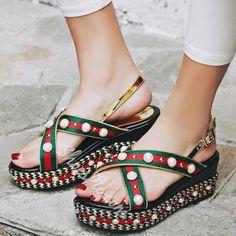Shoespie Gorgeous Manmade Pearl Beading Platform Sandals @bestshoeshq