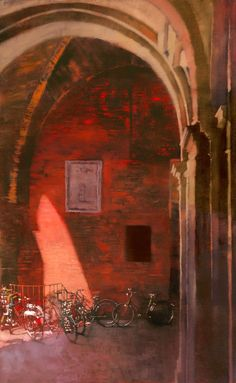 Bicycle and an Archway - Bernie Fuchs Nocturne, Fuchs Illustration, Russian Painting, Traditional Paintings, Illustrations, Urban Landscape, Portraits, Art Oil, Contemporary Artists