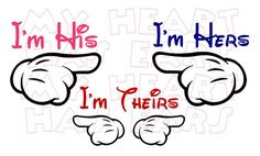 3 Printable DIY Mickey Mouse pointing finger by MyHeartHasEars DIY iron on transfer for t-shirts. How adorable will your family look walking down Main Street at Disney with these I'm His, I'm Hers, I'm Theirs, designs on your t-shirts!?