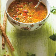 Lentil and Red Bell Pepper Soup | Ricardo Sauce Salsa, Bell Pepper Soup, Ricardo Recipe, French Onion, Beef Broth, Soup And Sandwich, Chowders, Lentils, Soup Recipes