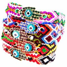 Handy ✋ #danalevy evil eye diamanté multicolour hamsa friendship bracelets #holidaygiftguide