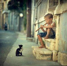 Intentando tocar la flauta para entretener a su gato