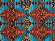 Turquoise and Rust Aztec Print Pure Cotton Fabric--One Yard. i wanna make something out of this fabric.. someone is feeling tribal :p