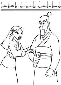 Mulan Begging To Dad Coloring Pages