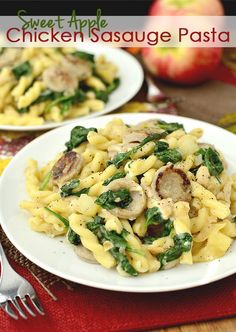 Sweet Apple Chicken Sausage Pasta | Easy weeknight meal. I didn't add the red pepper flakes but probably should have. It felt like something was missing
