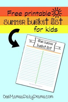 This free printable summer bucket list is the perfect starting point to have the best summer ever! Sit down with your kids and write down all the important things you want to do before school starts in the fall.  #summerfun #familyactivities #printable