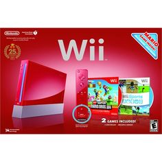 Wii System (Red) (includes Wii Sports, New Super Mario Bros, Wii Remote Plus)