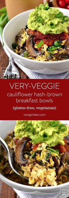 Start your day with a punch of vegetable power! Very-Veggie Cauliflower Hash Brown Breakfast Bowl is a healthy vegetarian breakfast that satisfies. | http://iowagirleats.com